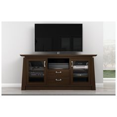 "Share and Save $5 Off Any Order Over $99. (excludes a few products) Furnitech 70"" TV Stand Asian Style Media Cabinet w/ Center Speaker Opening in Chocolate #dynamichome"