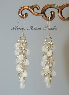 Silver White Shaggy Loops Wire Bead Dangle by ArtisticTouches, $12.00