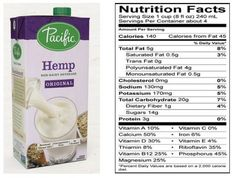 Pacific Foods Hemp Original Non-Dairy Milk Beverage Review Milk Brands, Vegan Milk, Trans Fat, Saturated Fat, Serving Size, Hemp, Dairy Free, Oatmeal, Beverages