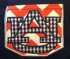 Auburn Tigers Pocket Tee with AU Applique or Filled Logo on Etsy, $17.00