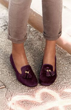 a fall must-have: suede loafers in a deep plum.