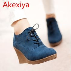Akexiya 2017 New Wedges Boots Fashion Flock Women's High-heeled Platform Ankle Boots Lace Up High Heels Spring Autumn Shoes #shoes, #jewelry, #women, #men, #hats