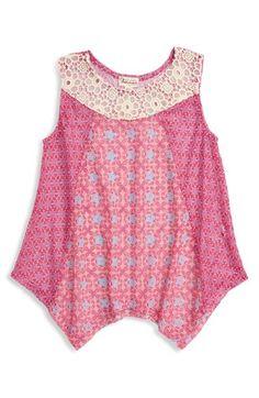 Ten Sixty Sherman Print Lace & Crochet Sheer Tank (Big Girls) available at #Nordstrom