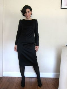 Top and skirt made from Mood's black wool satin. #moodfabrics