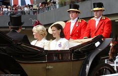 Looking good: Lady Sarah Chatto was elegant in a cream coat and neutral hat as she was driven along the racecourse in a landau following the Queen's 20 June 2014