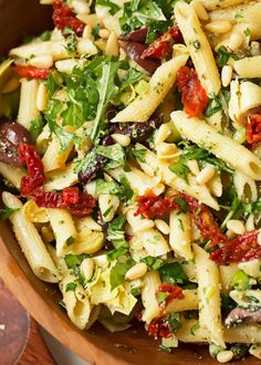 Copycat recipe for Cafe Express Pasta Amore. Mediterranean pasta salad is easy t… Copycat recipe for Cafe Express Pasta Amore. Mediterranean pasta salad is easy to make and loaded with artichokes, olives, sun-dried tomatoes, and capers. Pasta Al Pesto, Pasta Salad Italian, Basil Pesto, Shrimp Pasta, Pasta With Arugula, Farfalle Pasta, Spicy Shrimp, Penne Pasta, Mediterranean Pasta Salads