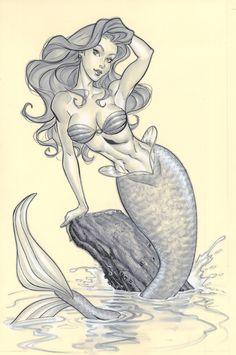 Dibujo de una sirena en lápiz.