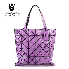 2016 New Diamond Lattice PVC Women Bag Geometric Mosaic Sequins Mirror Folding Bag Janpan Style Shoulder Bag Girl Casual Handbag