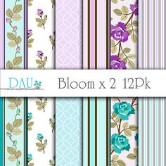 12 Pack of Bloom x 2 Variety Aqua and Purple by DigitalArtUtopia