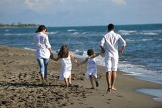 happy young family beach