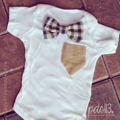 Baby Boy Onesie with Blue Checkered Bow Tie and by pdstudiosstore, $15.00