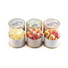 This trio of gemlike little hard candies from France is sure to satisfy even the most sophisticated sweet tooth. Refreshing Mint Baby Balls make the perfect after-meal treat. Heavenly Pearls are delicate, fruity beads that disintegrate in the mouth. And FrouFrou Candies are tender little cushions with delicious, chewy fillings.