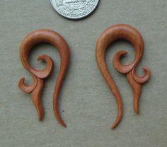 Pair Organic Carved Orchid Tribal Floral Saba Wood Talon Spirals Gauges Plug W59   eBay