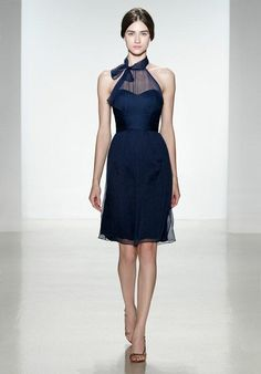 Illusion front high neck halter with scarf tie | Amsale Bridesmaids | https://www.theknot.com/fashion/g780c-amsale-bridesmaids-bridesmaid-dress
