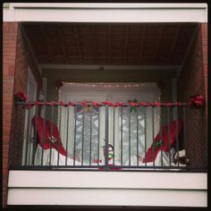 My Christmas decorated balcony.