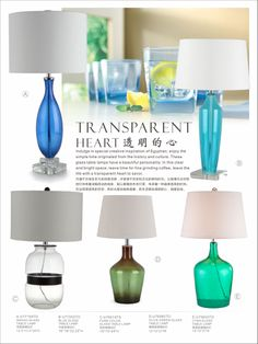 Indulge in special creative inspiration of Egyptian; enjoy the simple time originated from the history and culture. These glass table lamps have a beautiful personality. In this clear and bright space, leave time for fine grinding coffee, leave the life with a transparent heart to savor.