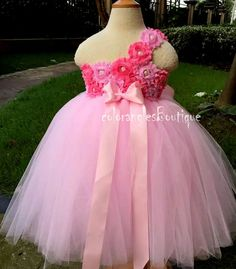 Pink Flower girl dress Shabby Chic Flowers by coloranglesBoutique
