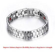Moda hombres salud magnética pulseras y brazaletes del acero inoxidable hombres hombres brazalete de joyería plateada plata del brazalete para el regalo B11(China (Mainland))