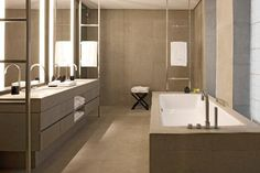 heated towel rails set away from the walls - Presidential Suite Bathroom armani hotel Milan