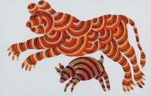 An online art gallery offering the best range of indian art online. Choose to buy from paintings, prints, artworks and more by renowned artists. Gond Painting, Animal Symbolism, Madhubani Art, Indian Folk Art, Indian Prints, Aboriginal Art, Mural Art, Art Auction, Tribal Art