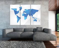 Abstract Blue Ice Geometric World Map Print Panels Set