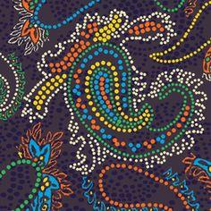 Carta da parati-Pannelli per pareti-Rivestimenti-Paisley Design   Pointillism paisley design-wallunica