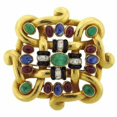 Impressive David Webb Diamond Gemstone Gold Platinum Brooch Pendant #jewels #DiamondBrooches