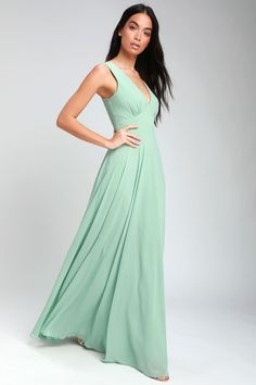 0dde52816f Here for Love Sage Green Sleeveless Maxi Dress Chiffon