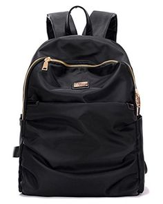 Water Resistant Nylon Backpack for Women Teen Girls Boys Casual Bookbag  College School Bags Black - ade1a188f4dd3