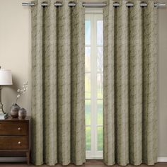 One Window Panel, Elegant and Contemporary Jacquard Tabitha Grommet Top Draperies. One Taupe 54' by 84' Panel *** Want additional info? Click on the image. (This is an affiliate link and I receive a commission for the sales)