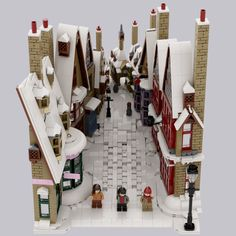walk to hogsmeade Awesome Lego, Cool Lego, Cool Toys, Harry Potter Display, Lego Harry Potter, Lego Winter Village, Lego Hogwarts, Lego Minifigure Display, Lego Sculptures