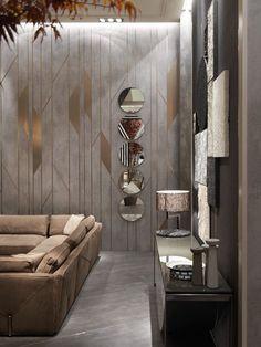 Living Room Sofa Design, Home Room Design, Living Room Designs, Wall Cladding Interior, Interior Walls, Interior Design, Feature Wall Design, Wall Panel Design, Drawing Room Wall Design