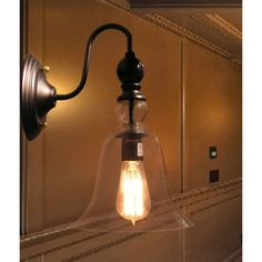 Shop for Mildred Clear Glass Edison Wall Lamp with Bulb. Get free delivery On EVERYTHING* Overstock - Your Online Wall Lighting Store! Get in rewards with Club O! Bathroom Sconce Lighting, Bathroom Sconces, Wall Sconces, Pendant Lighting, Farmhouse Light Fixtures, Farmhouse Lighting, Lighting Store, Home Lighting, Decorative Floor Lamps