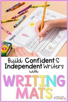 Build confident and independent writers in the primary classroom with Writing Mats. This resource provides the perfect writing prompts for kids, as well as picture-word lists, writing conventions checklist, and sentence starters! Perfect for your writing center, whole group writing lessons, small group support, and home writing practice. #kidwriting #teachingwriting #kindergartenwriting #firstgradewriting