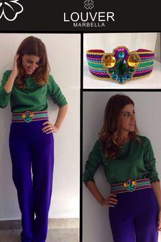 #moda#louver#fashion#pantalon#morado#blusa#verde#cinturon#multicolor#cordon