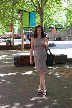 Sue Hoffman, NSW advertising strategy manager. Saba dress, Saba shoes, Michael Kors bag, Eb & Eve bracelet, Love & Hatred ring.