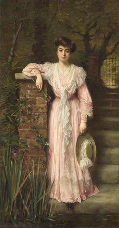 Thomas Benjamin Kennington (1856-1913) - Portrait of a lady in a garden