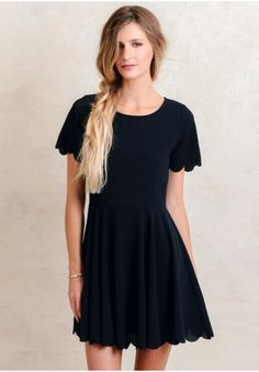 Beauty Within Scalloped Dress In Navy