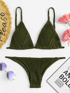 2b2ec5a081 Shirred Triangle Top With High Leg Bikini Set #bikini #shirred #triangle