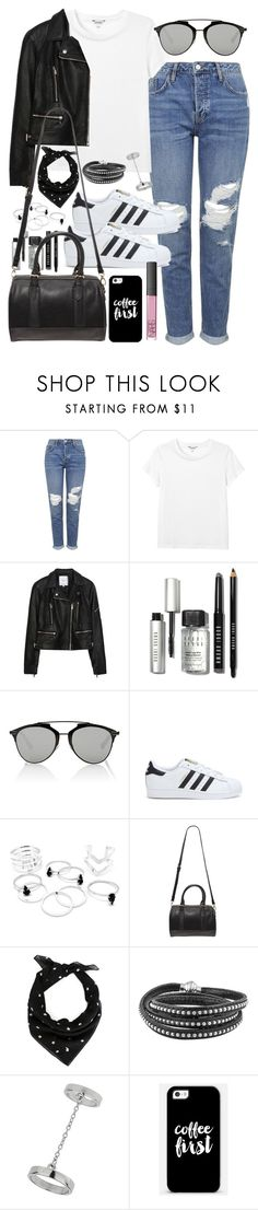 """""""Outfit with boyfriend jeans and Adidas superstars"""" by ferned ❤ liked on Polyvore featuring Topshop, Monki, Zara, Bobbi Brown Cosmetics, Christian Dior, adidas, Forever 21, Yves Saint Laurent, Casetify and NARS Cosmetics"""