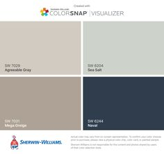 I found these colors with ColorSnap® Visualizer for iPhone by Sherwin-Williams: Agreeable Gray (SW 7029), Mega Greige (SW 7031), Sea Salt (SW 6204), Naval (SW 6244).