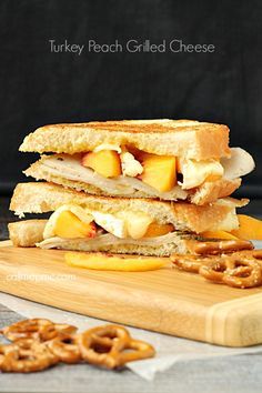 Turkey Peach Grilled Cheese recipe An unexpected sandwich combination, you'll love the unique flavors of turkey, peaches and gooey brie in this sandwich. Buttered and grilled to perfection, this sandwich is gooey on the inside with a crisp outside. Grilled Sandwich, Soup And Sandwich, Sandwich Recipes, Sandwich Ideas, Appetizer Recipes, Snack Recipes, Dinner Recipes, Appetizers, Good Food
