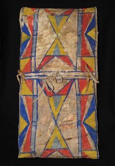 Painted parfleche of the Crow people.