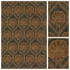 Ottoman Lampas Green : material cotton velvet : Robert Kim : Printed on velvet, a classic Ottoman palmette design.