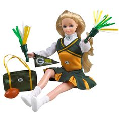 Green Bay Packers Cheerleader Doll-Blond at the Packers Pro Shop http://www.packersproshop.com/sku/4005203027/