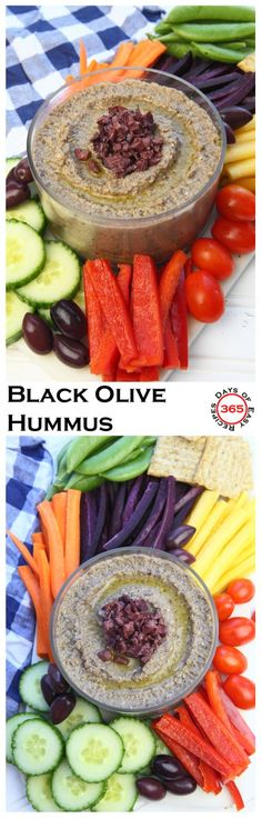 A delicious healthy snack - easy black olive (kalamata) hummus | 365 Days of Easy Recipes