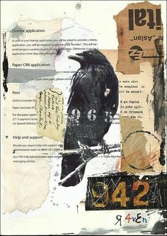 Original Art Ink Drawing Sketch Mixed Media Collage Painting Raven Crow Abstract