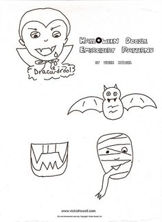Halloween doodle embroidery patterns