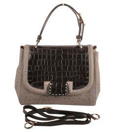 Fendi Silvana Black Croc And Light Grey Ostrich Veins Leather Bag