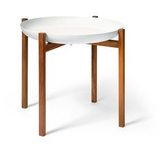 Design House Stockholm Tablo Tray Table - Teak Stand ($335) ❤ liked on Polyvore featuring home, furniture, tables, white tray table, onyx table, white lacquer table, lacquer table and teak wood furniture